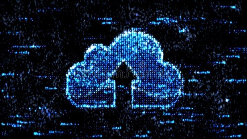 Wolkenopslag en computercode De blauwe code van de computerhexuitdraai stock illustratie