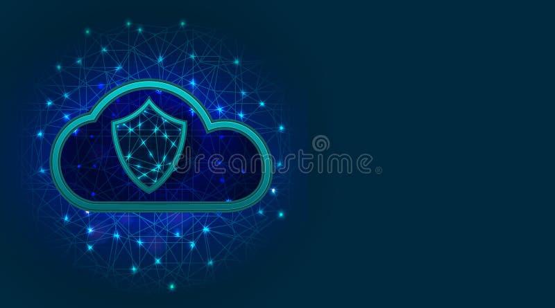 Wolkenopslag met het concept van de gegevensbeschermingtechnologie, schild en vinkjepictogram op abstracte veelhoekige achtergron vector illustratie