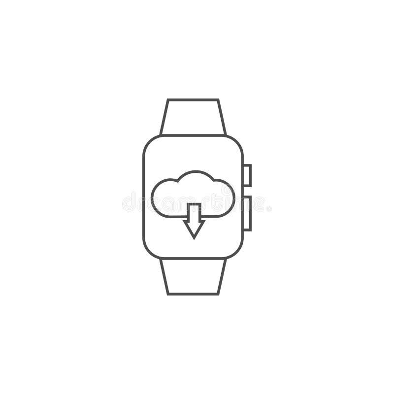 wolkenopslag op een slim horlogepictogram Element voor mobiel concept en Web apps Dun lijnpictogram voor websiteontwerp en ontwik vector illustratie