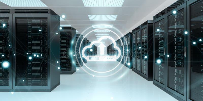 Wolkenpictogram die datas in het centrum van de serverruimte het 3D teruggeven downloaden stock illustratie