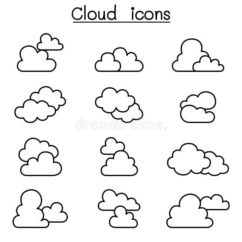 Wolkenpictogram in dunne lijnstijl die wordt geplaatst royalty-vrije illustratie