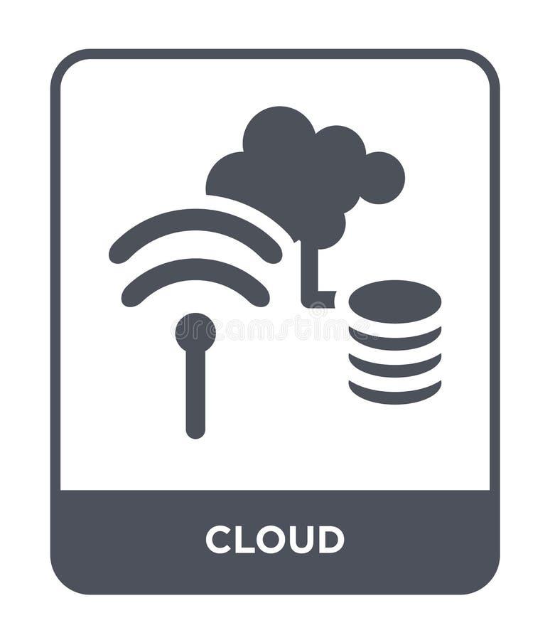 wolkenpictogram in in ontwerpstijl Wolkenpictogram op witte achtergrond wordt geïsoleerd die eenvoudige en moderne vlakke symbool stock illustratie