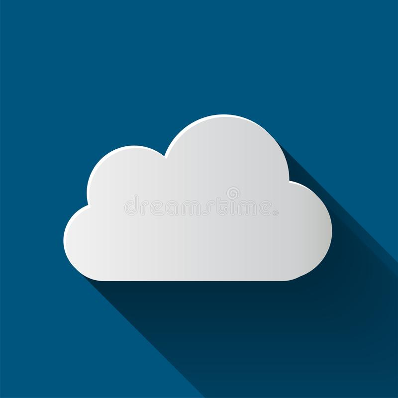 Wolkenpictogram op achtergrond wordt geïsoleerd die Wolken vlakke illustratie stock illustratie