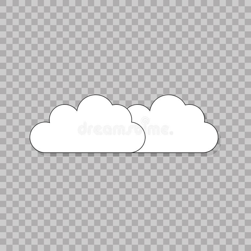 Wolkenpictogram op transparante achtergrond Vector wolken Geïsoleerdee vector In Vlakke stijl voor grafisch ontwerp, Website, UI royalty-vrije illustratie