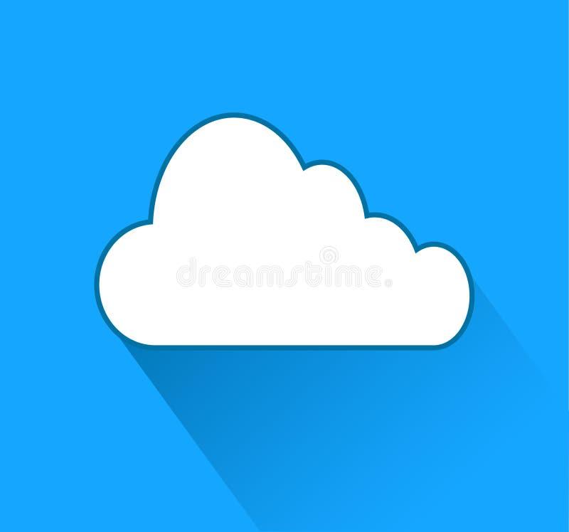 Wolkenpictogram over blauwe achtergrond met schaduw, voorraadvector illust royalty-vrije illustratie