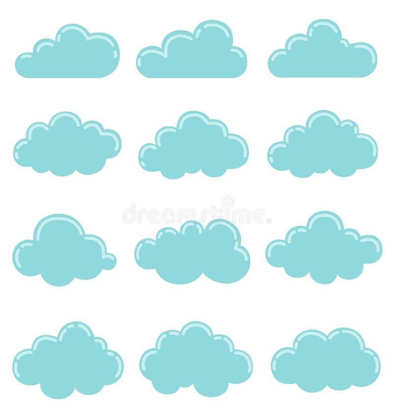 Wolkenpictogram, vectorillustratie, de inzameling van Wolkenvormen stock illustratie