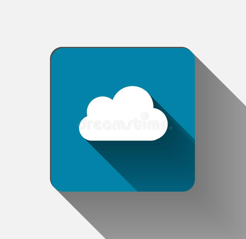 Wolkenpictogram vlak wit op hemelachtergrond Illustratie vector illustratie