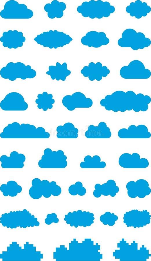 Wolkenpictogrammen royalty-vrije illustratie