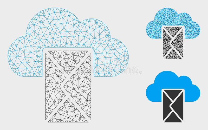 Wolkenpost Vector het Mozaïekpictogram van Mesh Wire Frame Model en van de Driehoek vector illustratie