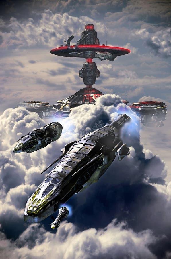 Wolkenschepen royalty-vrije illustratie