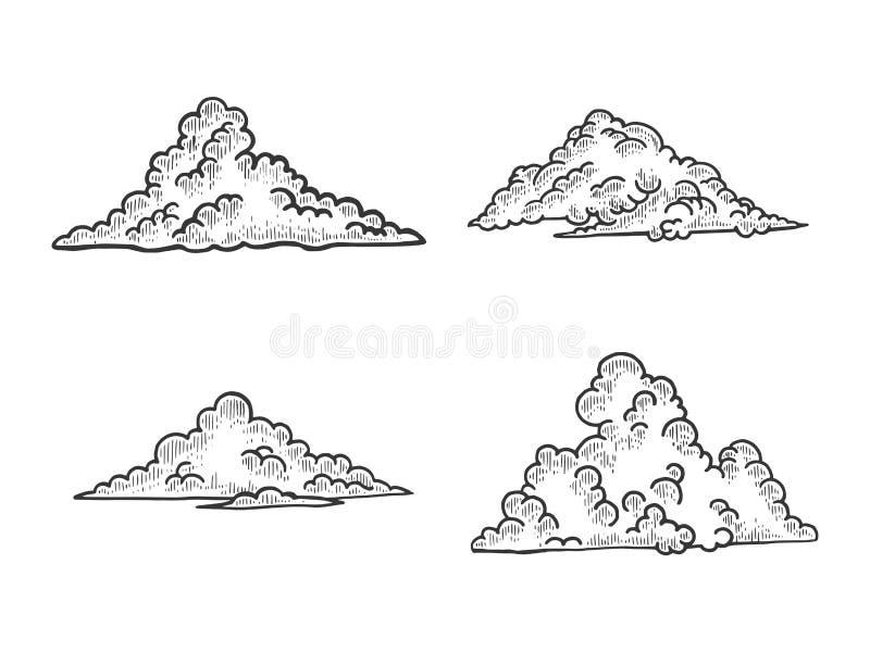 Wolkenschets die vectorillustratie graveren vector illustratie