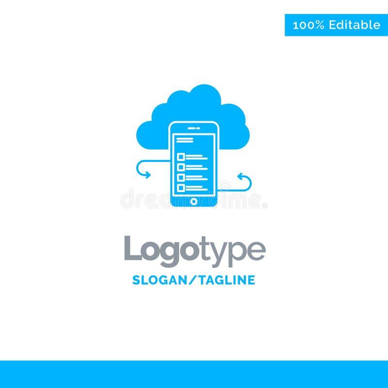 Wolkenspeicher, Geschäft, Wolken-Speicher, Wolken, Informationen, Mobile, Sicherheit blauer fester Logo Template Platz f?r Taglin stock abbildung