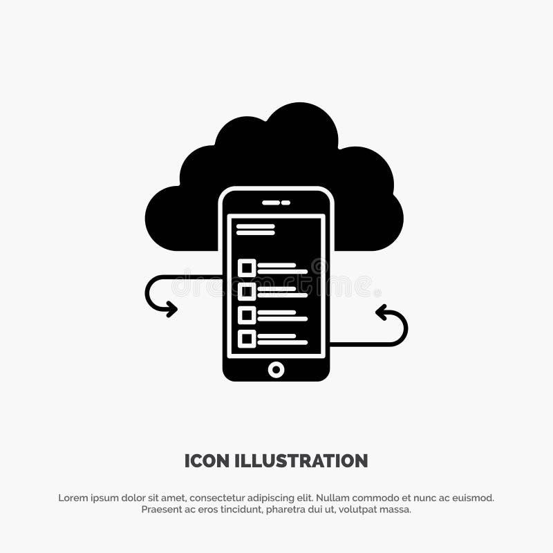 Wolkenspeicher, Geschäft, Wolken-Speicher, Wolken, Informationen, Mobile, Sicherheit fester Glyph-Ikonenvektor stock abbildung
