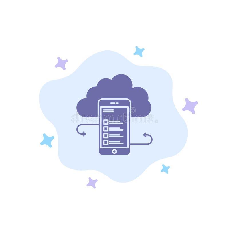 Wolkenspeicher, Geschäft, Wolken-Speicher, Wolken, Informationen, Mobile, Sicherheits-blaue Ikone auf abstraktem Wolken-Hintergru lizenzfreie abbildung