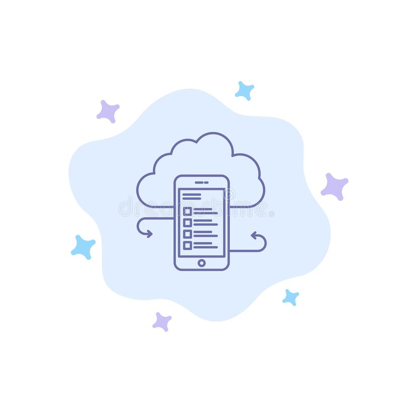 Wolkenspeicher, Geschäft, Wolken-Speicher, Wolken, Informationen, Mobile, Sicherheits-blaue Ikone auf abstraktem Wolken-Hintergru vektor abbildung