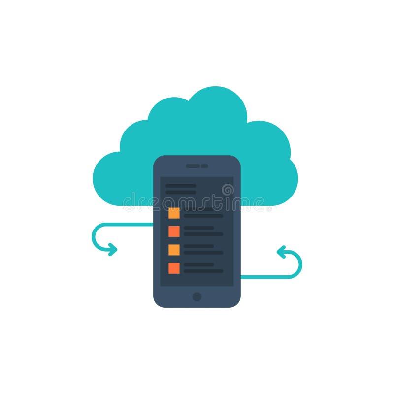 Wolkenspeicher, Geschäft, Wolken-Speicher, Wolken, Informationen, Mobile, Sicherheits-flache Farbikone Vektorikonen-Fahne Schablo stock abbildung