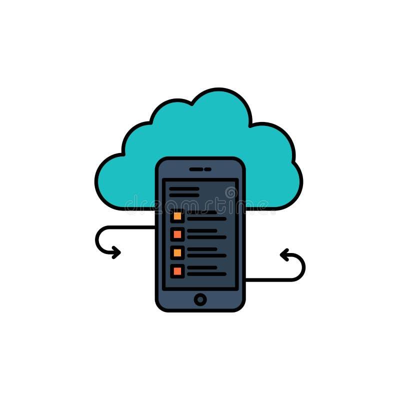 Wolkenspeicher, Geschäft, Wolken-Speicher, Wolken, Informationen, Mobile, Sicherheits-flache Farbikone Vektorikonen-Fahne Schablo vektor abbildung