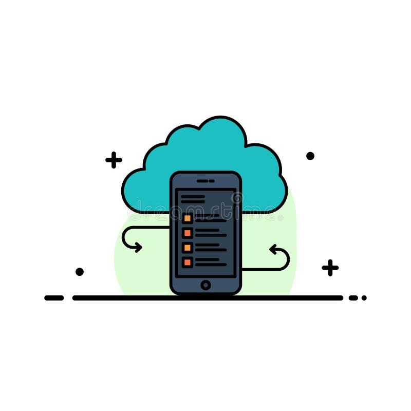 Wolkenspeicher, Geschäft, Wolken-Speicher, Wolken, Informationen, Mobile, Sicherheits-Geschäfts-flache Linie füllte Ikonen-Vektor lizenzfreie abbildung