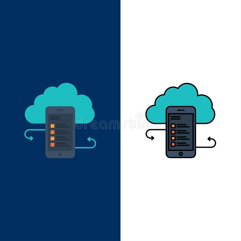 Wolkenspeicher, Geschäft, Wolken-Speicher, Wolken, Informationen, Mobile, Sicherheits-Ikonen Ebene und Linie gefülltes Ikonen-Sat vektor abbildung
