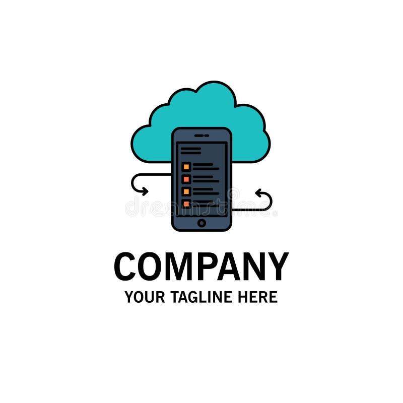 Wolkenspeicher, Geschäft, Wolken-Speicher, Wolken, Informationen, Mobile, Sicherheits-Geschäft Logo Template flache Farbe stock abbildung