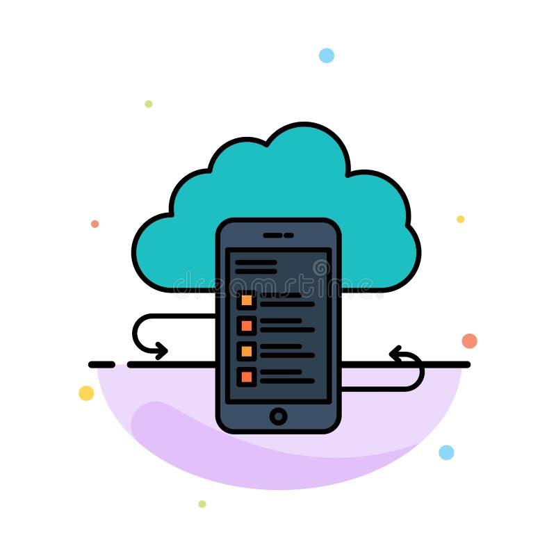 Wolkenspeicher, Geschäft, Wolken-Speicher, Wolken, Informationen, Mobile, Sicherheits-Zusammenfassungs-flache Farbikonen-Schablon vektor abbildung