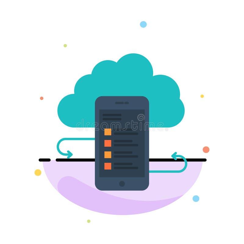 Wolkenspeicher, Geschäft, Wolken-Speicher, Wolken, Informationen, Mobile, Sicherheits-Zusammenfassungs-flache Farbikonen-Schablon stock abbildung