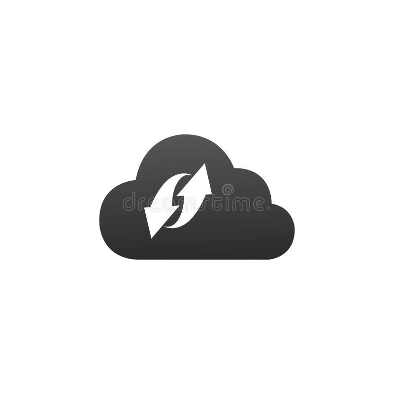 Wolkensynchronisatie gegevensverwerkingsconcept Cliëntapparaat die gegevens met de wolk synchroniseren Vector illustratie die op  stock illustratie