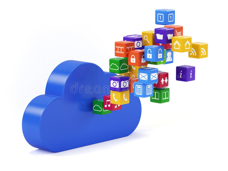 Wolkentechnologie stock illustratie