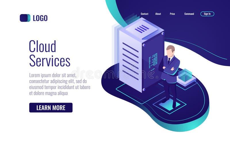 Wolkentechnologie, het concept de dienst voor gegevensopslag en informatieverwerking, isometrische serverruimte datacenter vector illustratie