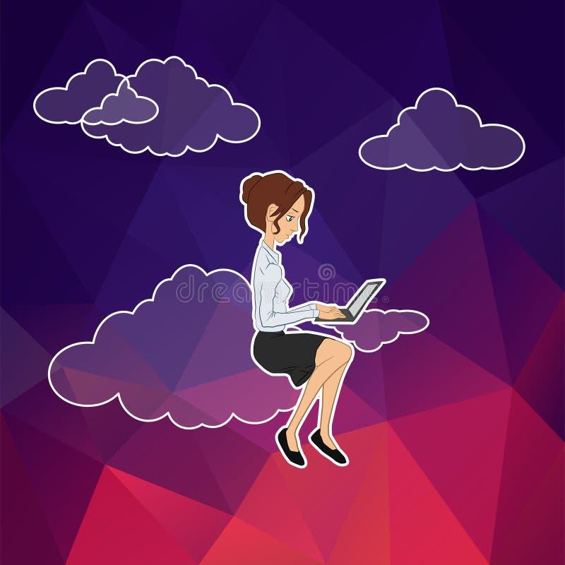 Wolkentechnologie voor team van beheer stock illustratie
