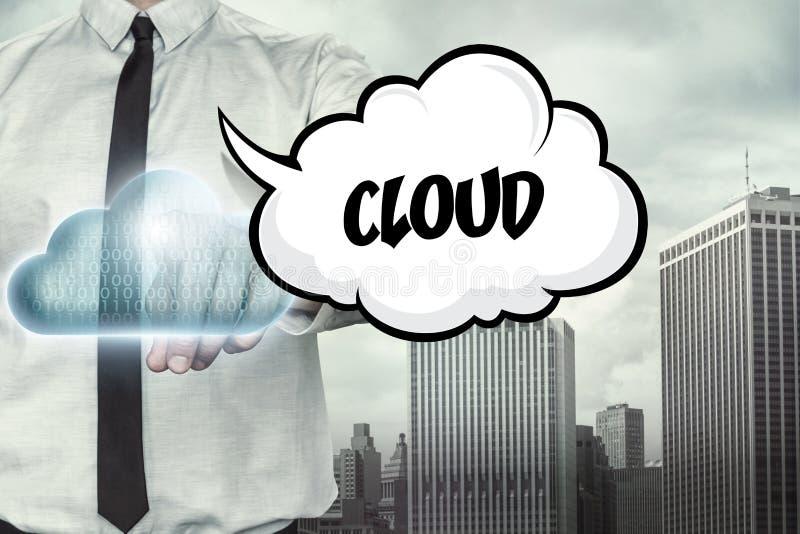 Wolkentekst op wolk gegevensverwerkingsthema met royalty-vrije stock afbeeldingen