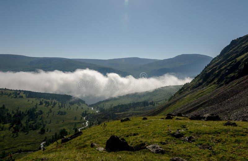 Wolkenvallei in de heuvels stock foto's