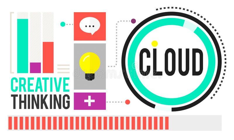 Wolkenwolk van het Voorzien van een netwerkgegevens van de Gegevensverwerkingswolk de Opslagconcept stock illustratie