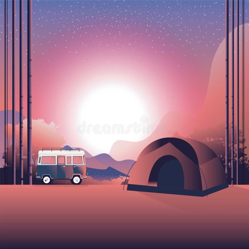 Wolkswagen wycieczka samochodowa d 3 ksi??yc ilustracyjna noc obozujący, plenerowy odtwarzanie, przygody w natury pojęciu wektor  ilustracji