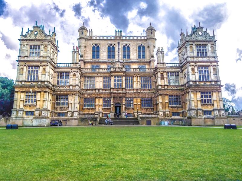 Panoramic view of the Wollaton Hall Museum, standing on a small but prominent hill in Wollaton Park, Nottingham, England. stock photography