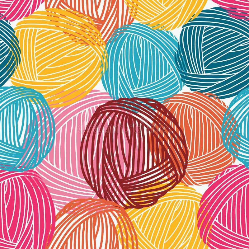 Wollbälle, Garnstränge Nahtloses Muster Bunter Hintergrund lizenzfreie abbildung