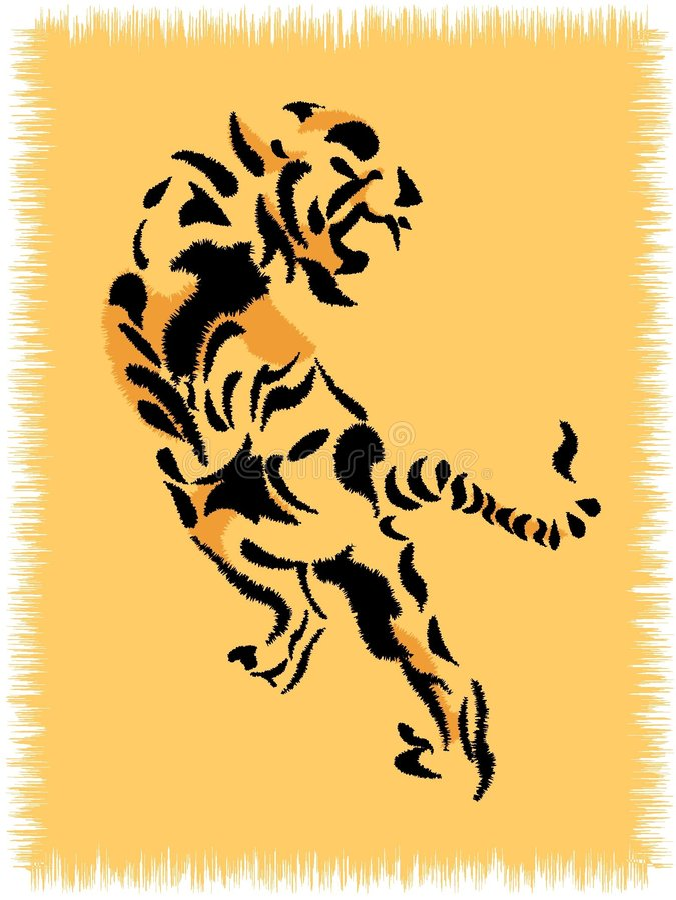Wolldecke mit Tiger stock abbildung