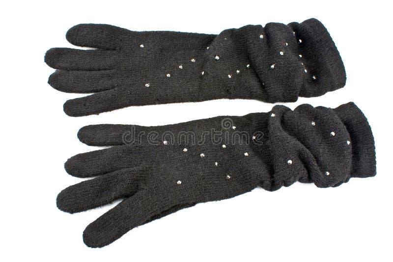 Wollen handschoenen met gemmen royalty-vrije stock foto's
