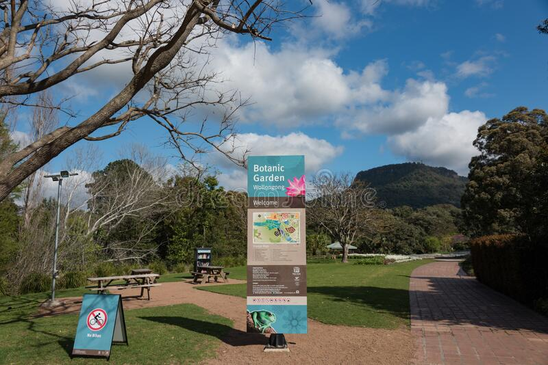 Wollongong Botanic Garden entrance with navigation map and garden rules royalty free stock photography