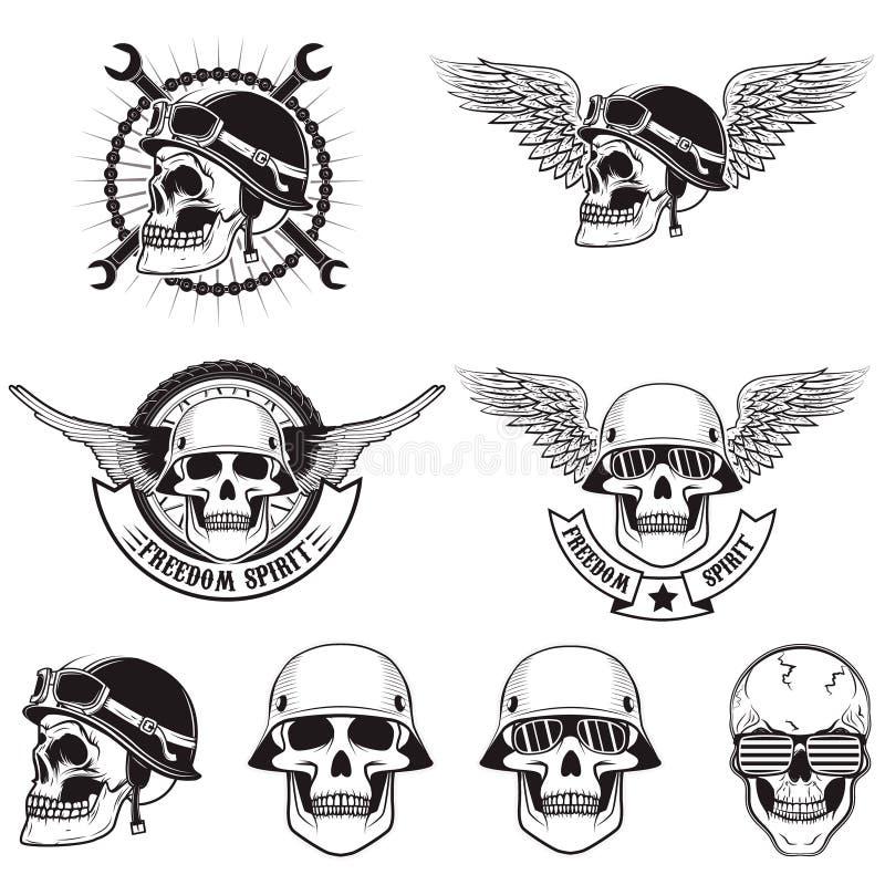 Wolność duch Set czaszki w rowerzystów hełmach ilustracji
