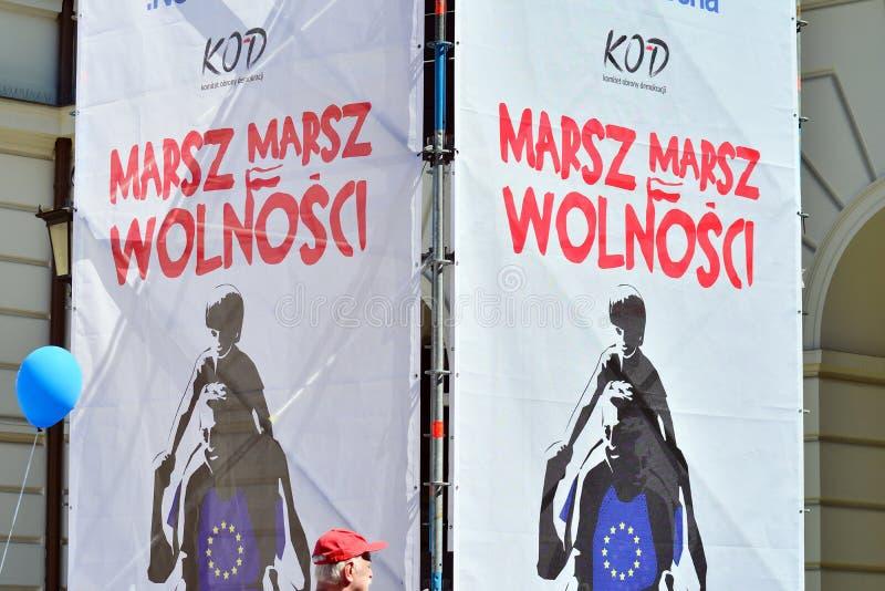 Wolność Marzec Słupy maszerują potępiać rzędu, żlobi demokrację zdjęcia stock