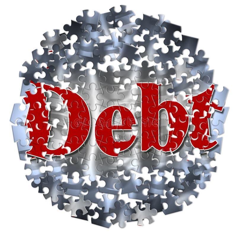 Wolność od długu publicznego - pojęcie wizerunek w wyrzynarki łamigłówki kształcie royalty ilustracja