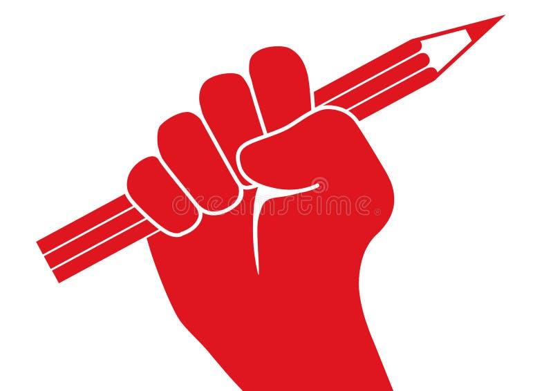 Wolność prasy pojęcie z pięścią macha ołówek w protescie ilustracji