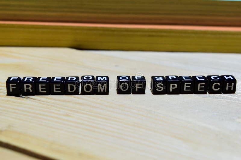 Wolność słowa na drewnianych blokach Edukacja i biznesu pojęcie zdjęcie royalty free