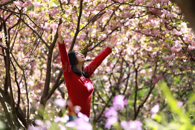 Wolności kobiety szczęśliwy uczucie żywy i uwalnia w natury oddychaniu czystym i świeżym powietrzu fotografia stock