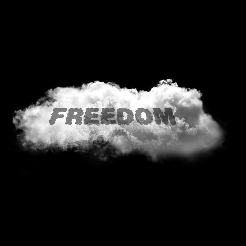 Wolności pojedynczy biały puszysty obłoczny latanie nad czarnym tłem ilustracja wektor