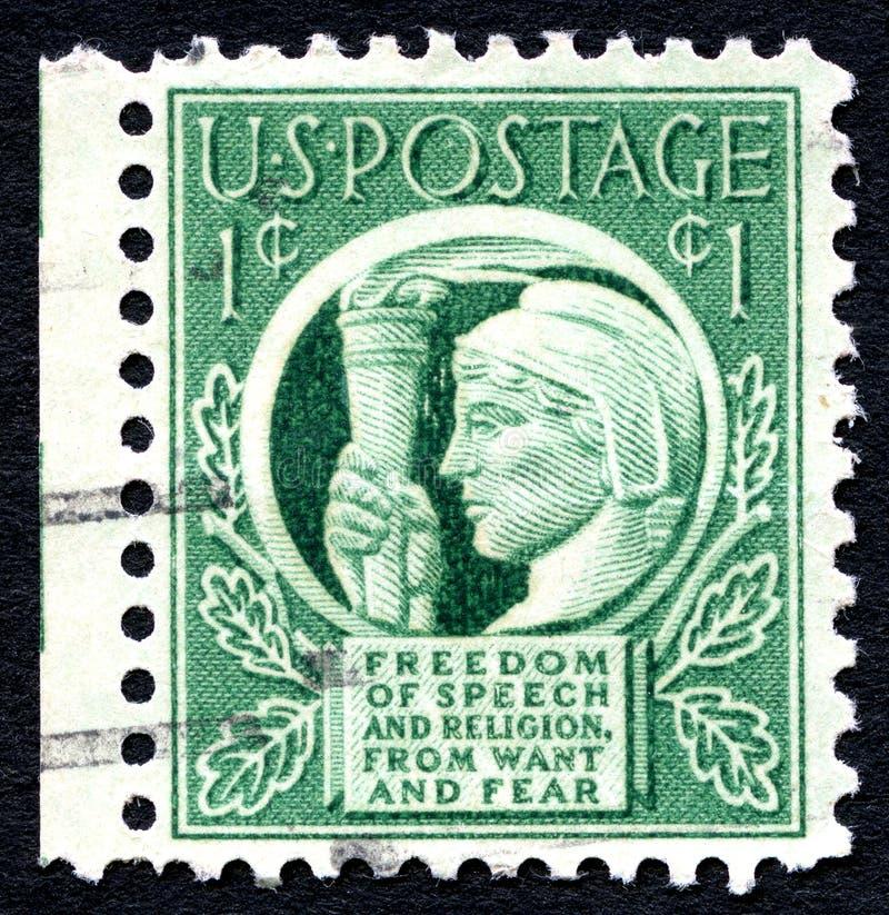 Wolności Słowa USA znaczek pocztowy zdjęcie stock