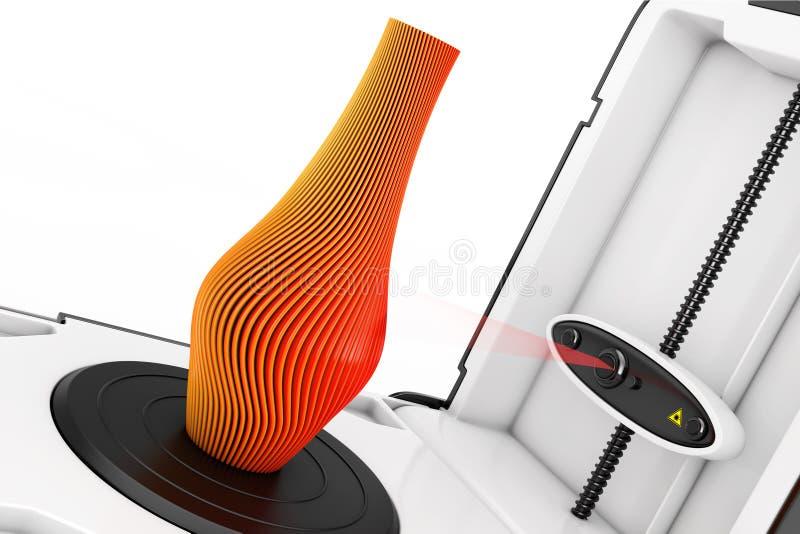 Wolno Stojący Nowożytny Desktop domu 3D przeszukiwacza skanerowania abstrakt M ilustracja wektor
