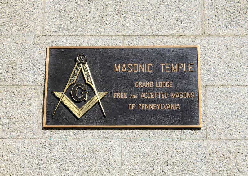 Wolnomularska świątynia podpisuje wewnątrz Filadelfia fotografia royalty free
