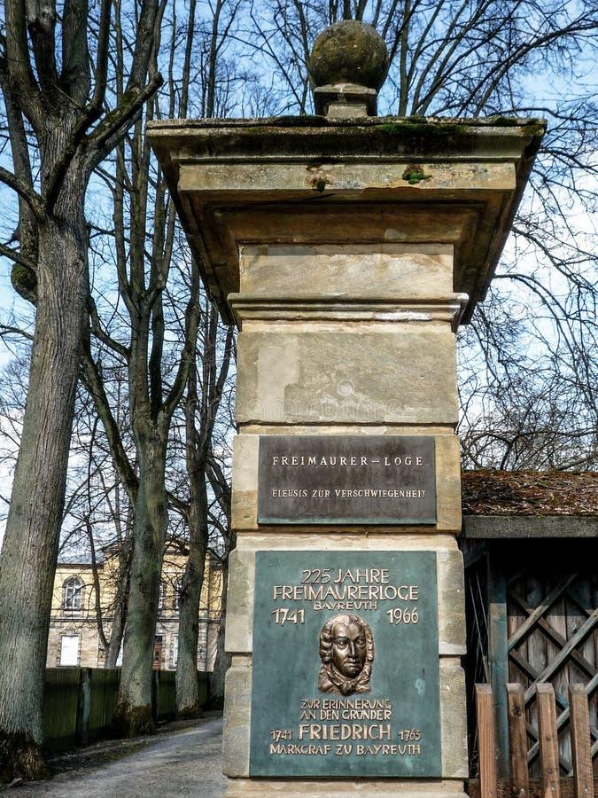 Wolnomularska stróżówka Bayreuth, Eleusis zur Verschwiegenheit - obrazy royalty free